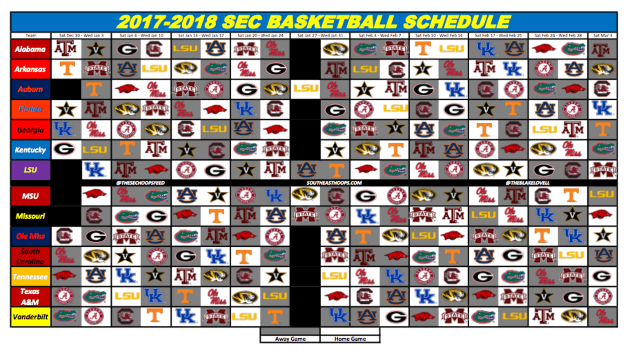 image regarding Printable Kentucky Basketball Schedule known as 2018 SEC Basketball Routine - Southeast Hoops